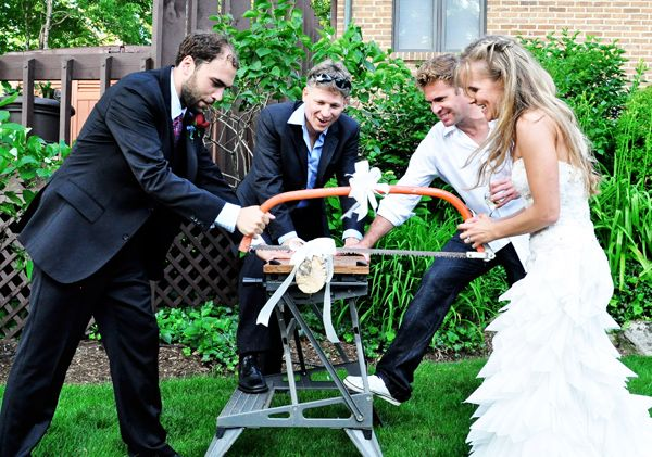 German Log Sawing Tradition.When a couple exits the church after the #wedding ceremony, there is a saw horse that sports a thick log and a handsaw. The couple is expected to saw the log in half, symbolizing their taking on the first hard task of their new life together.