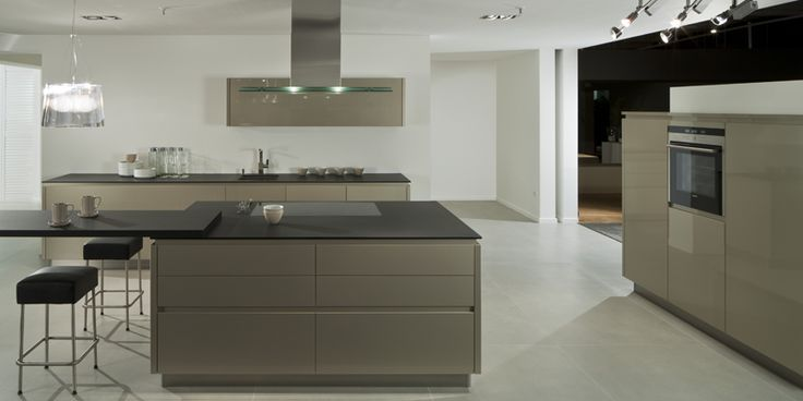 German Pronorm Y Line Handle Less Kitchen In Cubanite Gloss Features A Midi