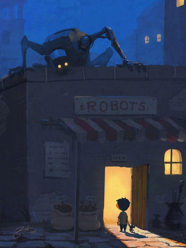 Google Image Result for http://mayhemandmuse.com/wp-content/uploads/2012/04/robot-store-nightmare-spooky-monster-creepy-kid-photoshop-painting-digital-art-cartoon-comic.jpg