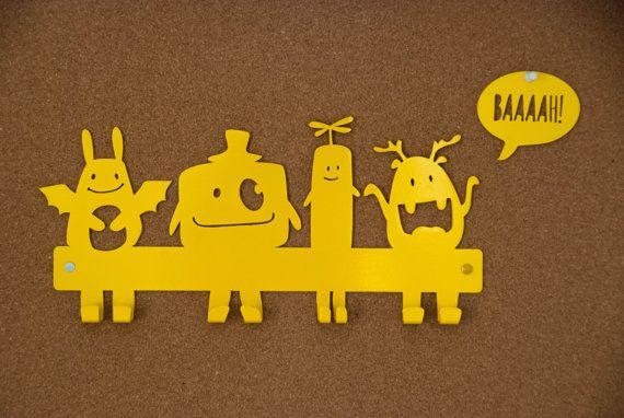 Nursery Wall Hooks Yellow Coat Rack / Kids Hanger / by Metalya