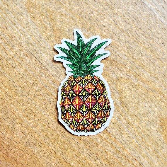 Vinyl Sticker Pineapple Pattern Waterproof by NicoleStefanieDesign