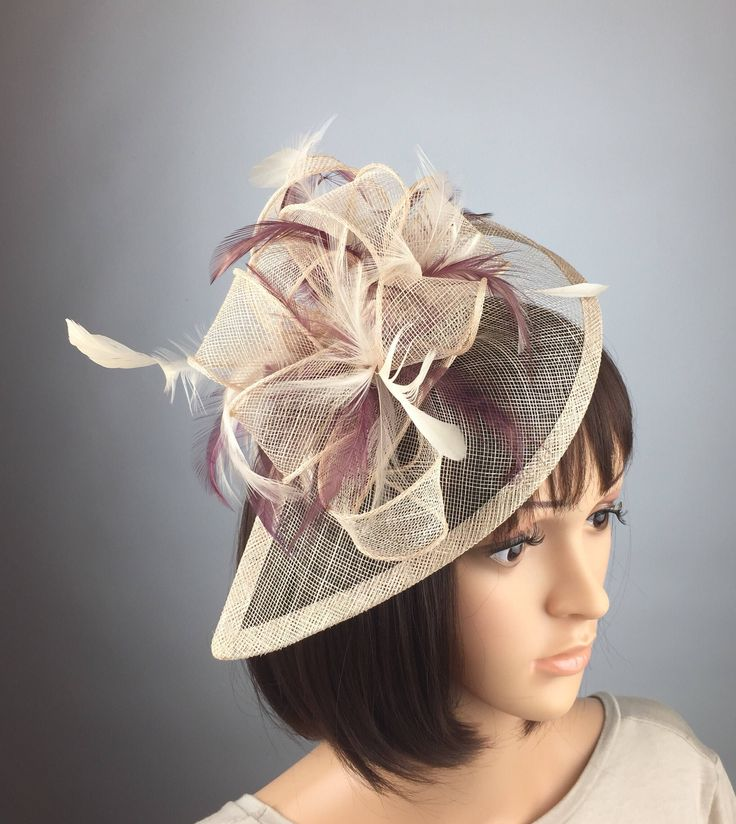 Excited to share the latest addition to my #etsy shop: Beige burgundy Fascinator maroon claret red wine cream Fascinator Sinamay Fascinator wedding mother bride Ladies Day & Ascot races, occasion #accessories #weddings #beige #red #beigeandwine #bridal #burgundywedding #teardrop #twoway