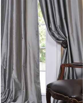 Solid Faux Silk Taffeta Platinum Curtain Panel - modern - curtains - Overstock