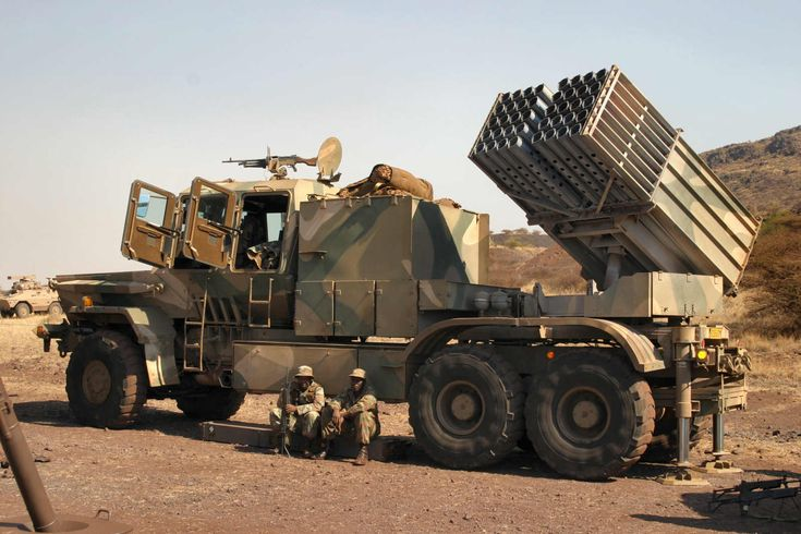 Bateleur 127 mm 40 tube multiple rocket launcher of South African Army