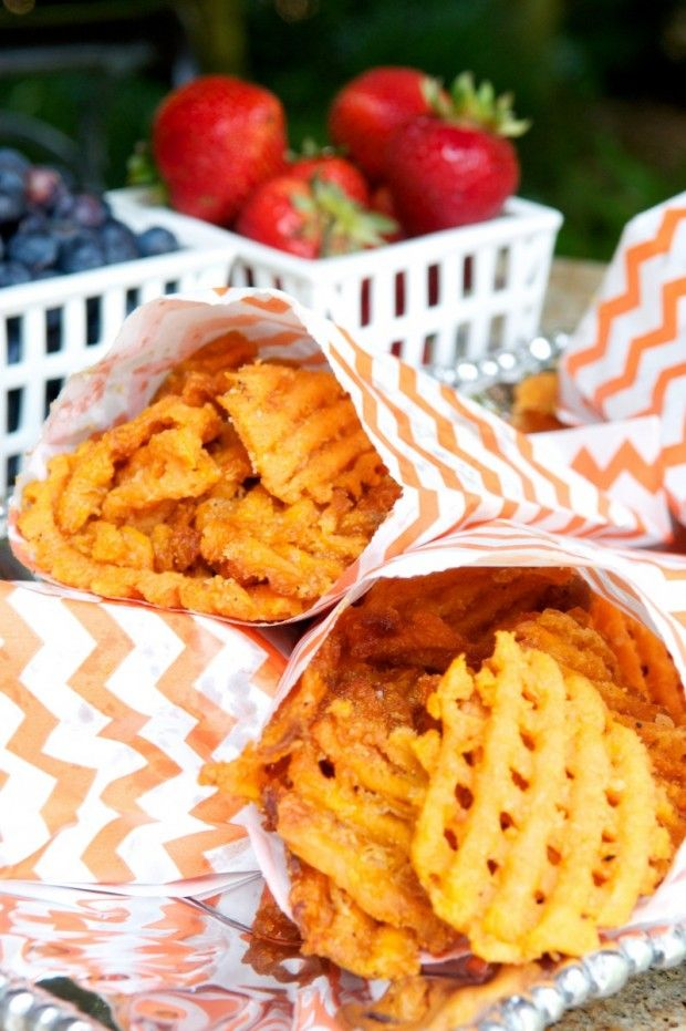 Sweet Potato Waffle Fries in individual parchment paper bags. Summer entertaining is all about casual and comfort. Nothing too complicated. Nothing too fussy. @Amos Gott