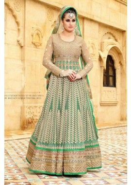 costume Anarkali net vert de la mer, - 302,00 €, #Robeindienne #Tenueindienne #Tenuepakistanaise #Shopkund