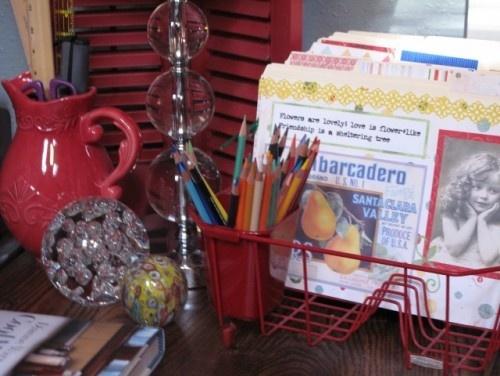 Dish rack file/pencil holder...great idea!