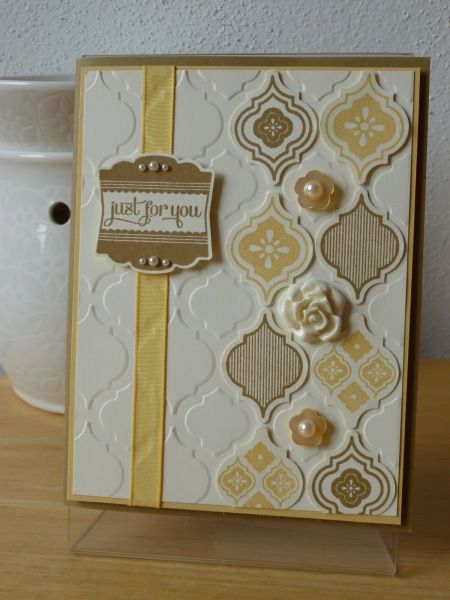 lovely handmade card featuring the suite of Mosaic Madness card creators: embossing folder, stamps and punch ... luv the vanilla, yellow and kraft on this card ... Stampin' Up!