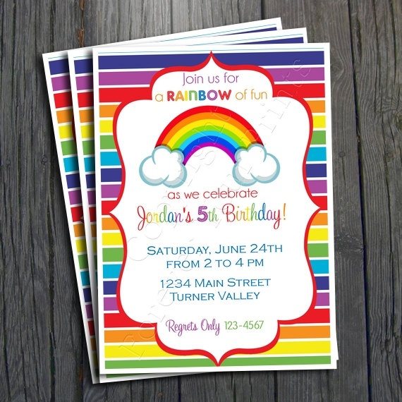 Rainbow Birthday Invitation - FREE Thank You Card included #rainbow #birthdayinvitation #party