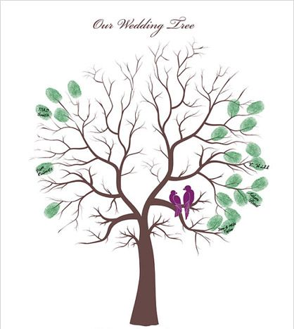Ask guests to create leaves on this beautiful tree with their thumbprint, creating a keepsake to hang in your home. You can also include your names and wedding date in the design.