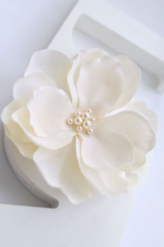 Ivory Bridal Hair Flower Flower Hair Clip Bridal by BelleBlooms, $25.00