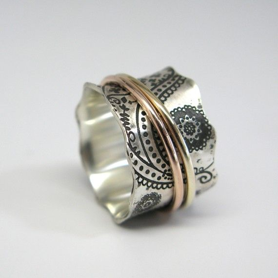 Vintage Inspired Paisley Sterling Silver Spinner Ring with 14k Rose Gold and 10k Yellow Gold Spinners