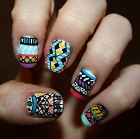 403 best nails images on pinterest nails beautiful and enamels aztec tribal nails or is it hippie nails or boho blah whatever its a multicolor random artistic creative design aztec tribal nails or is it hippie nails prinsesfo Gallery