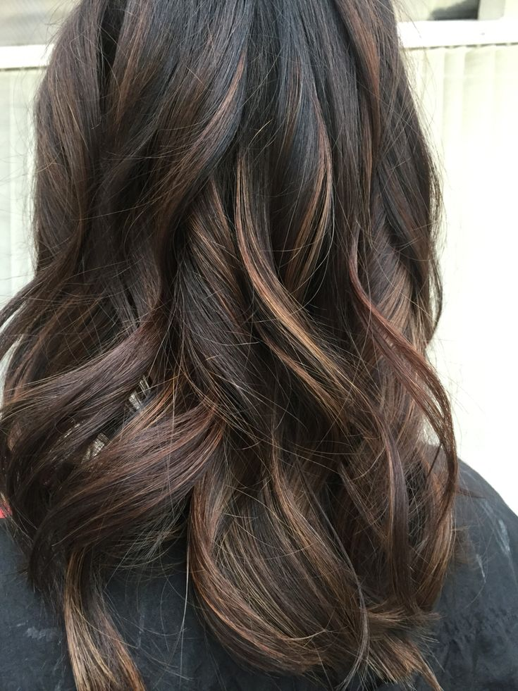 The 25 best dark hair with lowlights ideas on pinterest fall dark brunette balayage with caramel pmusecretfo Choice Image