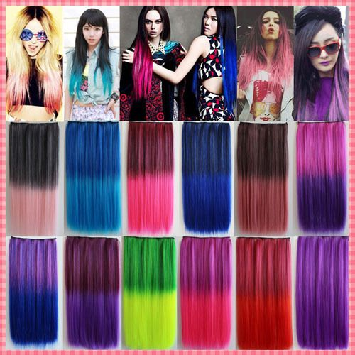 Fashion Gradient Hair Extensions Harajuku Highlight Synthetic Clip-in Straight Hair Extension  Long Cosplay hair pieces #JO010