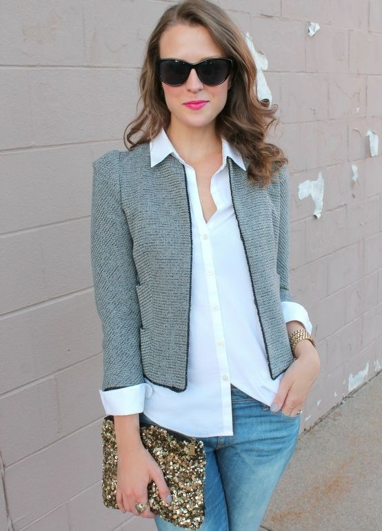 Casual professional - boxy jacket with slightly longer layer underneath