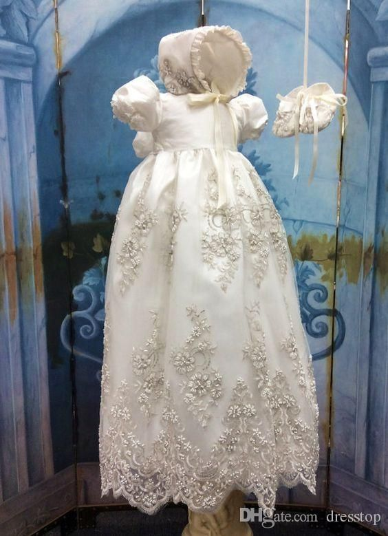 Lovely Lace Appliques Long Christening Dresses For Baby Girl With Short Sleeves Beads Baptism Gown Cheap Kid First Communication Dress