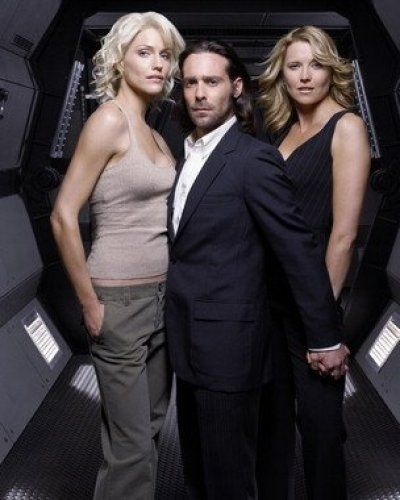 Tricia Helfer (Six), James Callis (Dr. Gaius Baltar) and Lucy Lawless (D'Anna) from Battlestar Galactica.