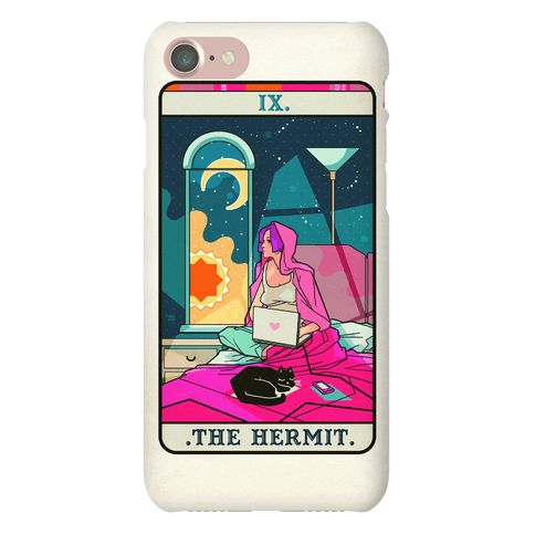 Hermit Tarot Card - Hermit tarot card for the modern age. A true new age hermit- sitting in bed with their laptop, cat and Netflix - sun in and sun out. Never bother to see the light of day with this tarot card prediction!