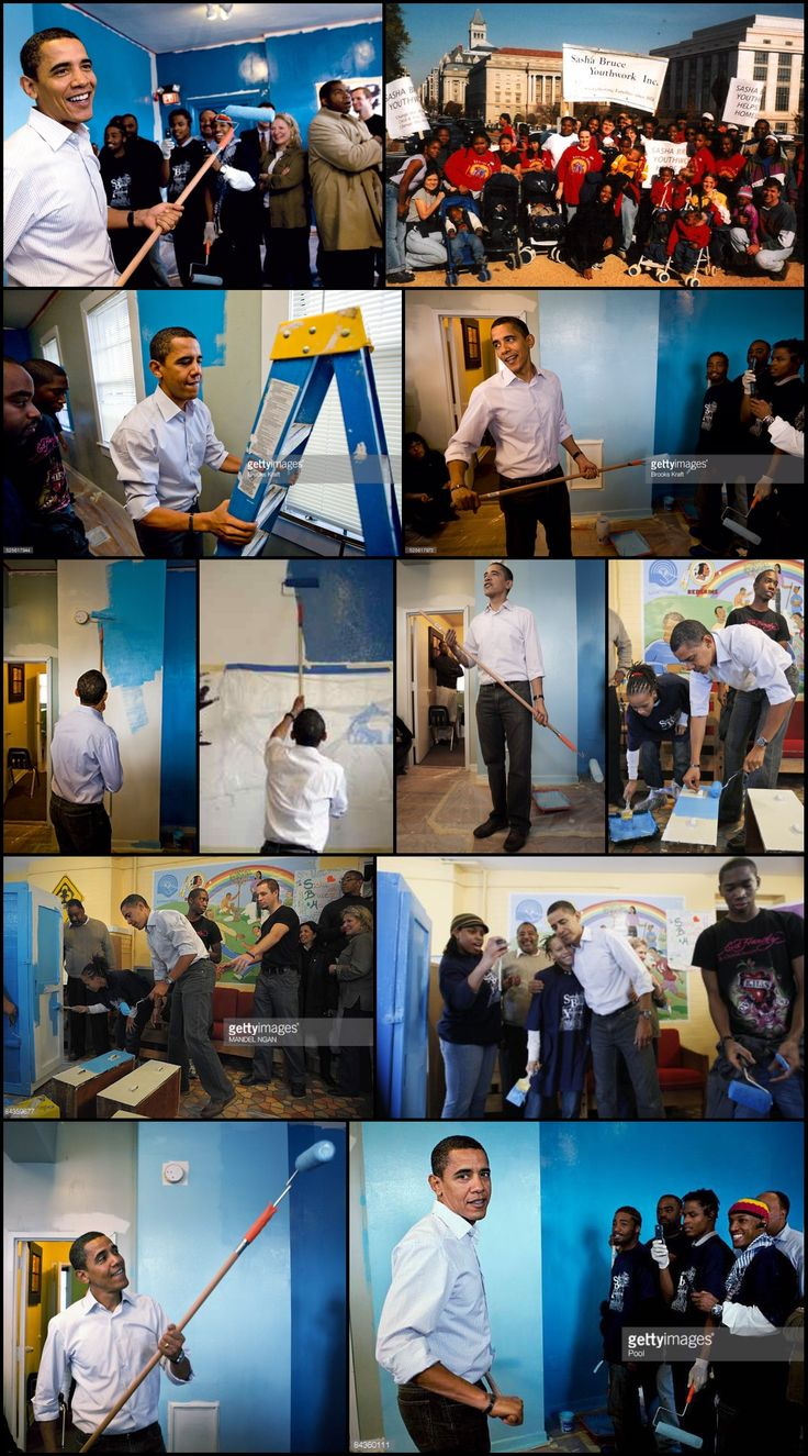 #44thPresident #BarackObama helps paint the walls at the #SashaBruceHouse a #shelter for #teens January 19, 2009 in Washington, D. C In 1976, Shore and the Washington Streetwork Project came to the attention of Evangeline Bruce, wife of Ambassador David Bruce, following the tragic #death of their #daughter #SashaEvangelineBruce donated funds to start a youth shelter in #memory of Sasha, and Shore opened the Sasha Bruce House in 1977, Washington DC's premiere 24 hour homeless youth shelter