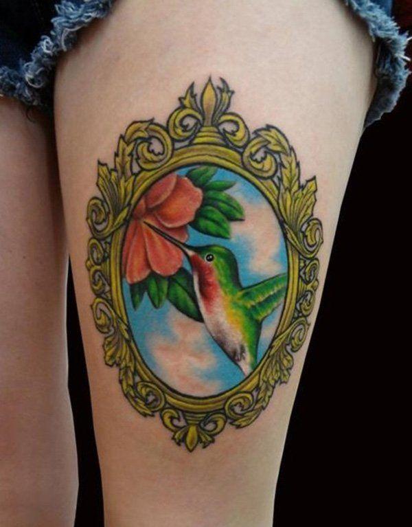 Colored Hummingbird thigh Tattoos - 55 Amazing Hummingbird Tattoo Designs  <3 <3