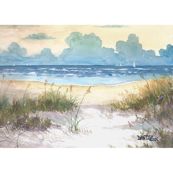 Ocean painting sea oats original Watercolor seascape painting ocean beach Sailboats sailboat sunset water blue ochre   7x10 on paper derekcollins