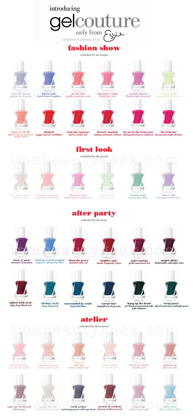 Essie Gel Couture shade chart                                                                                                                                                                                 More