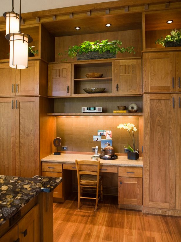 kitchen office pinterest desks. A Wall Of Custom Wood Cabinets Allows For Cork Board Desk Accented By Recessed And Pendant Lighting. Kitchen Office Pinterest Desks Y