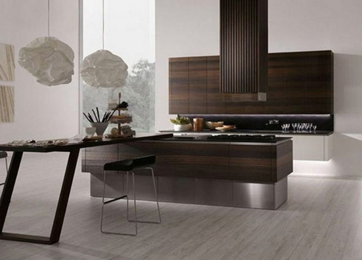 Rough and sophisticated Rational Kitchen suites : Wooden Kitchen Island With Slide Dining Table And Wooden Cabinet