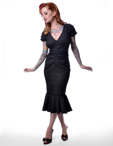 Steady Clothing PINSTRIPE Gangster 30s 40s pencil wiggle dress pinup mermaid