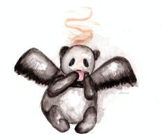 Winged Panda Drinking Coffee by ishkaart