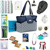 New Mom Gifts Best Baby Shower Gift Carter's Geo Diamond Carry It All Tote Diaper Bag (Dark Grey /Turquoise) Bundle Gift Set Comes with 30+ items included  http://amzn.to/2DV99G6