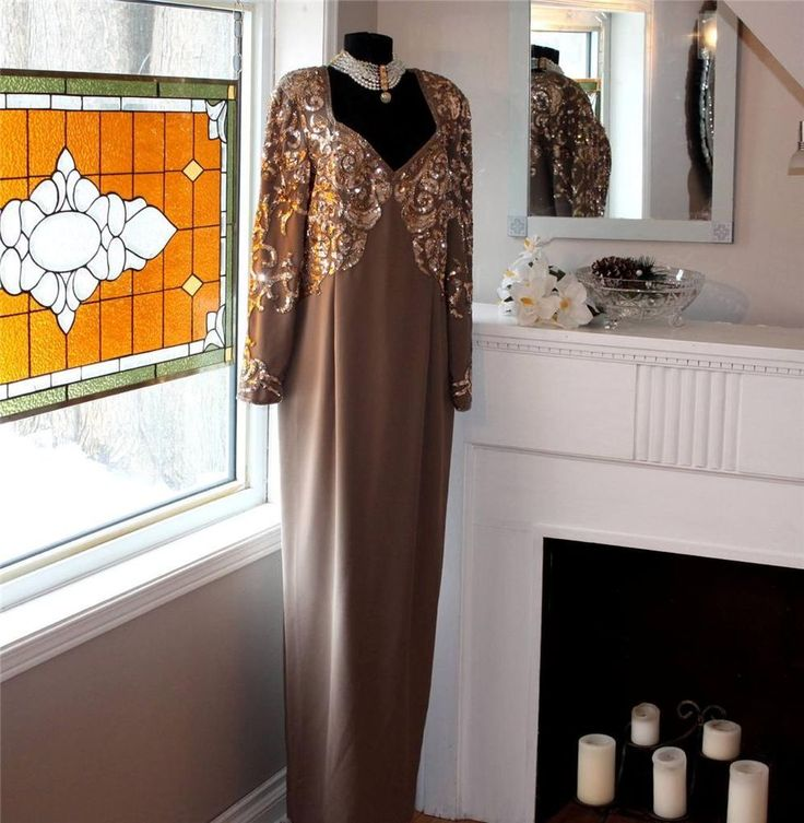 Designer JOVANI NEW YORK Taupe Evening Gown w/ Gold Sequins- Size 18