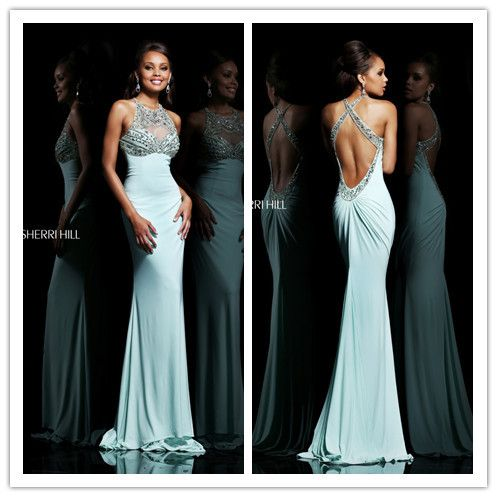 New Design Cut Out High Neck Mint Green Prom Dresses 2014 Open Back Evening Floor Length Gowns