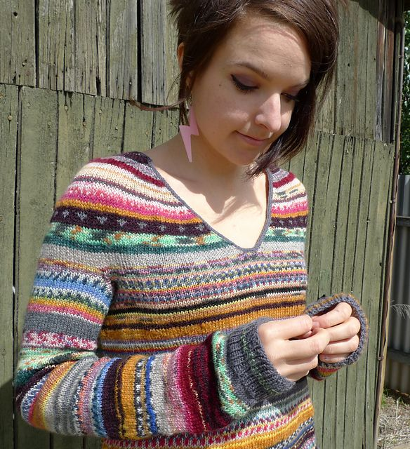 Leftover sock yarn sweater with steeked V -neck.  I know someone who is always knitting socks - this would be a great pattern for her!