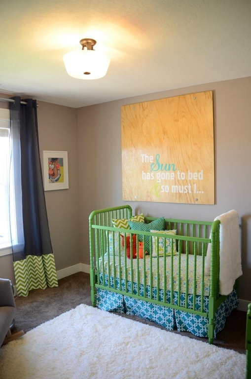 Gender neutral nursery i might have to paint the crib a for Bright neutral paint colors