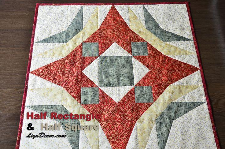 Patchwork Half Rectangle a Half Square - Půlené čtverce a obdélníky #half #rectangle #square #tutorial #video #lizadecor #šablony #vzory