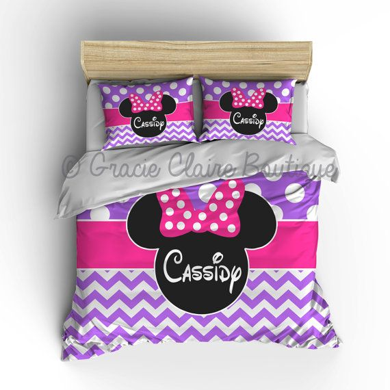 Personalized Purple Pink Girl Mouse Ears Bedding in Toddler, Twin, Twin XL, Queen or King Comforter or Duvet Cover by Gracie Claire Boutique