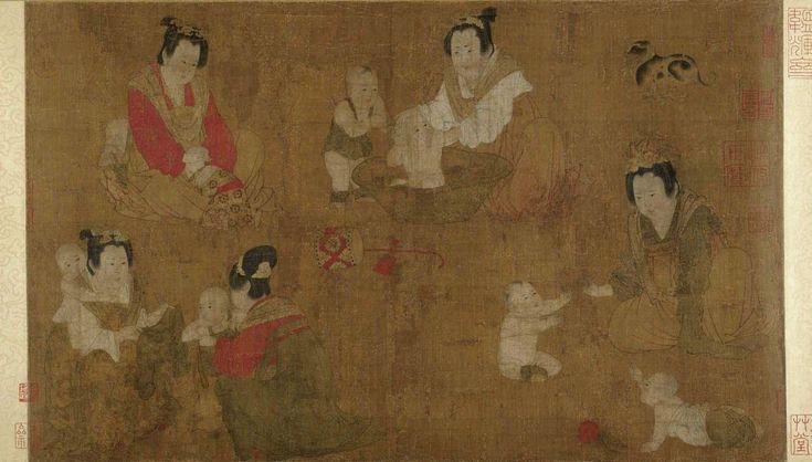 Zhou_Fang._Palace Ladies Bathing Children.