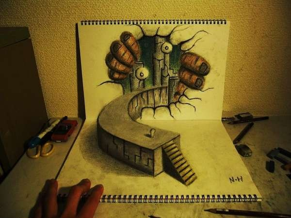 Three-Dimensional Pencil Art - Nagai Hideyuki Makes the Page Come Alive (GALLERY)