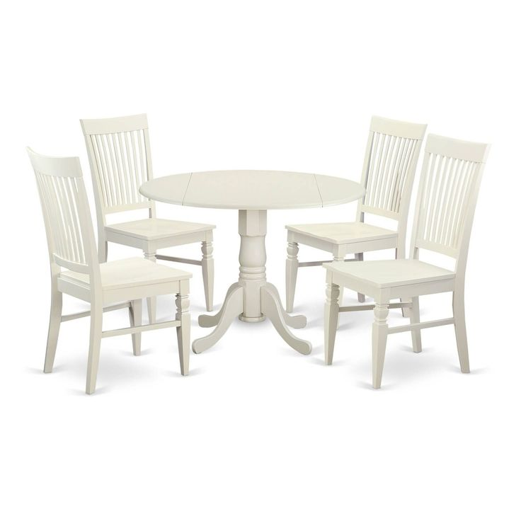 DLWE5-W 5 PC small Kitchen Table set - Table and 4 Dining Chairs (Off-White (Beige) Finish - White), Size 5-Piece Sets