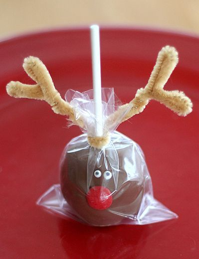 Rudolph cake balls {what?! that's cute!}