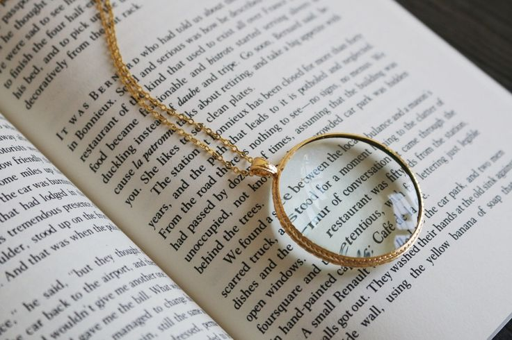 Magnifying glass necklace, Magnifying glass pendant, Vintage literary gifts, book lovers gift, solitaire minimalist simple delicate school by VermeerJewellery on Etsy https://www.etsy.com/listing/229146297/magnifying-glass-necklace-magnifying