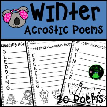 Are you looking for a fun Winter activity to practice poetry? These 20 Winter Acrostic Poems are the perfect activity for students to practice their poetry skills and have fun writing about Winter themes.