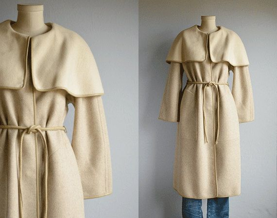 Vintage 70s Bonnie Cashin Coat / 1970s Oatmeal and Cream Long Wool Wrap Coat with Capelet Collar and Leather Trim (328.00 USD) by zestvintage