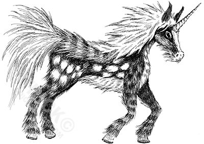 Spotted Unicorn - Pen and Ink lineart by 'Trick!  http://tricksplace.com/autumn-spotted-unicorn/