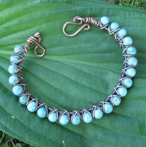 Turquoise beaded bracelet  stone & copper wire by dalystudios