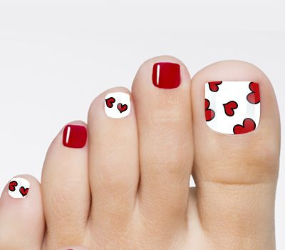 valentine red and white toenail art