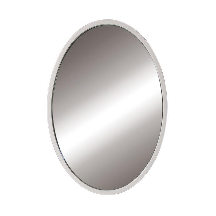 Image Gallery Website Decolav Lola In W X In H White Oval Bathroom Mirror Wht