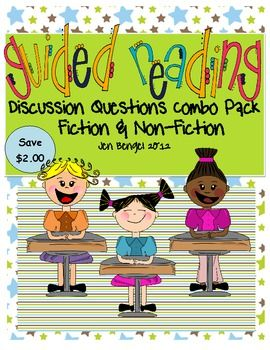 This is an 18 page resource full of 72 guided reading discussion questions for fiction and non-fiction texts. Questions are also on printable pages for students to write their responses. These are great to use for assessing comprehension! $